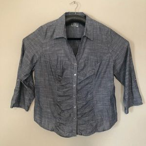 Cato blue ruched front shirt sz 22/24W